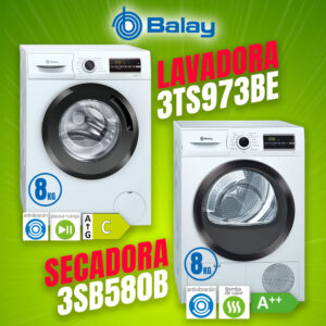 Pack BALAY – Lavadora 3TS973BE + Secadora 3SB580B